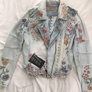 NEW Blank NYC Floral Studded Denim Jacket XS (0-2)